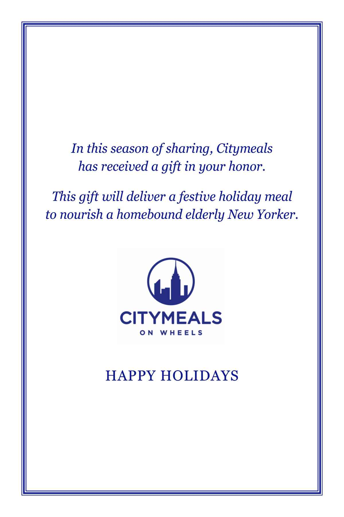 Holiday Cards | Citymeals on Wheels